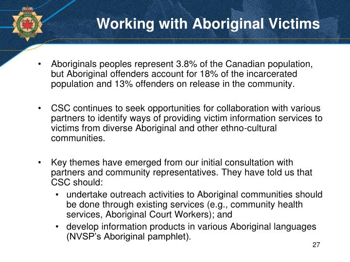 Working with Aboriginal Victims