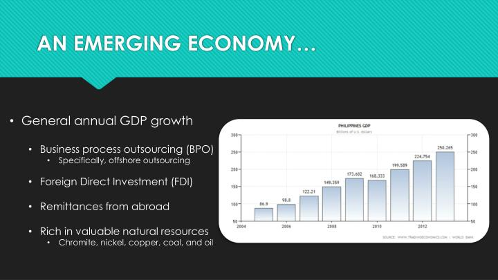 AN EMERGING ECONOMY…