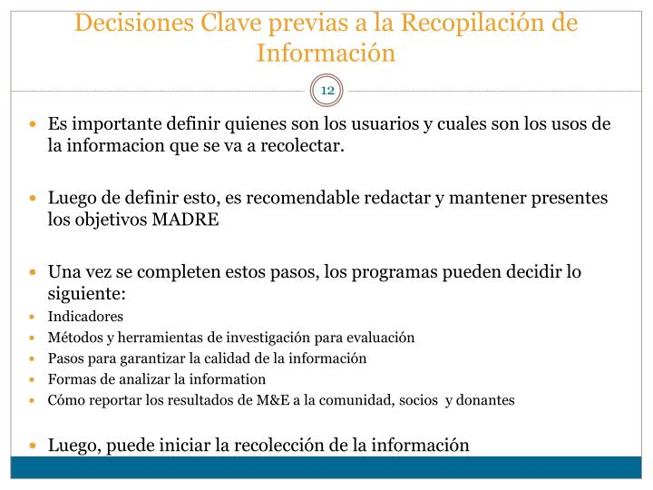Decisiones Clave previas a la Recopilación de Información