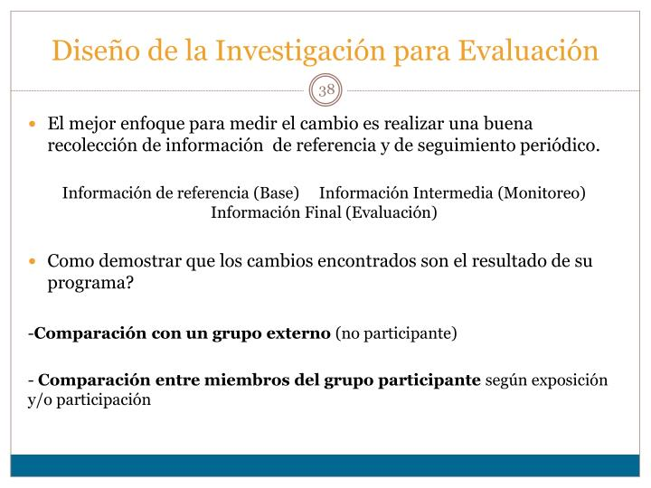 Diseño de la Investigación para Evaluación