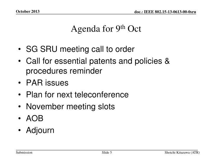Agenda for 9