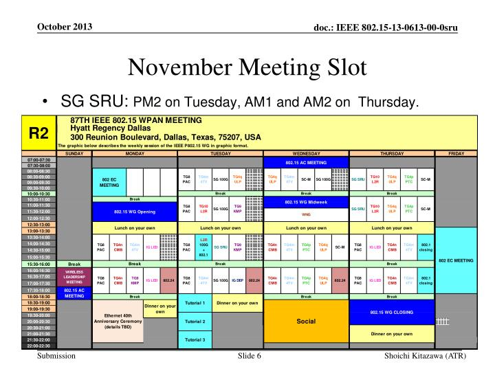 November Meeting Slot