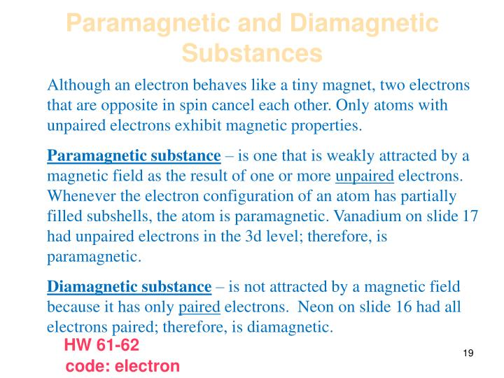 Paramagnetic and Diamagnetic Substances