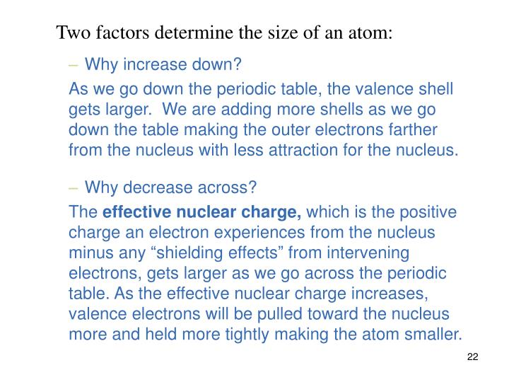 Two factors determine the size of an atom: