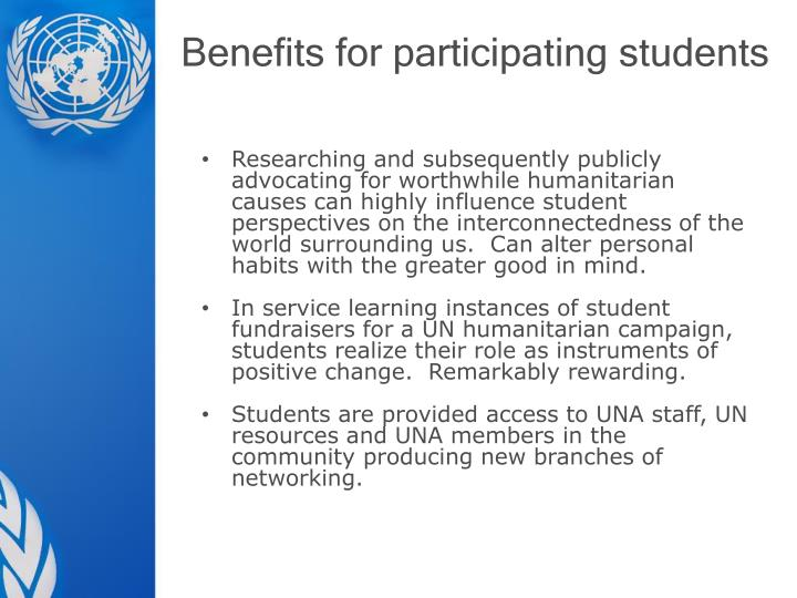 Benefits for participating students
