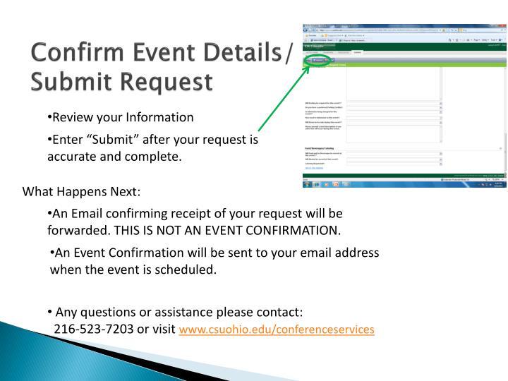 Confirm Event Details/