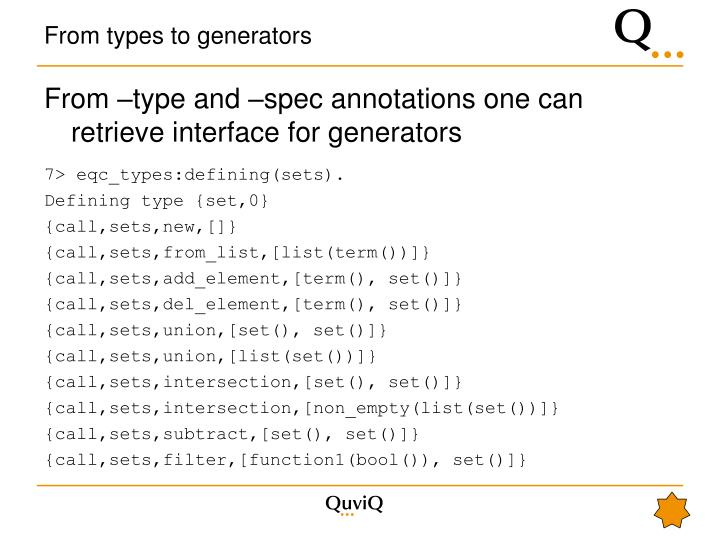From types to generators