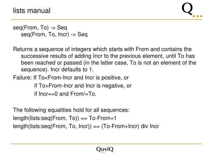 lists manual