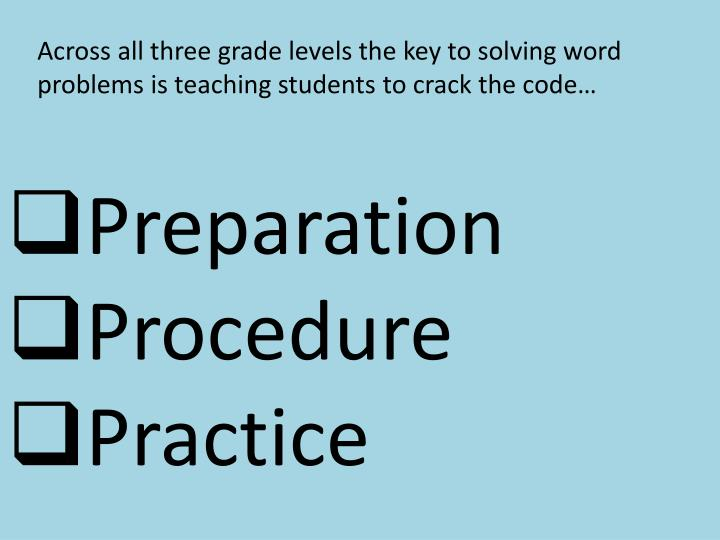 Across all three grade levels the key to solving word problems is teaching students to crack the code…