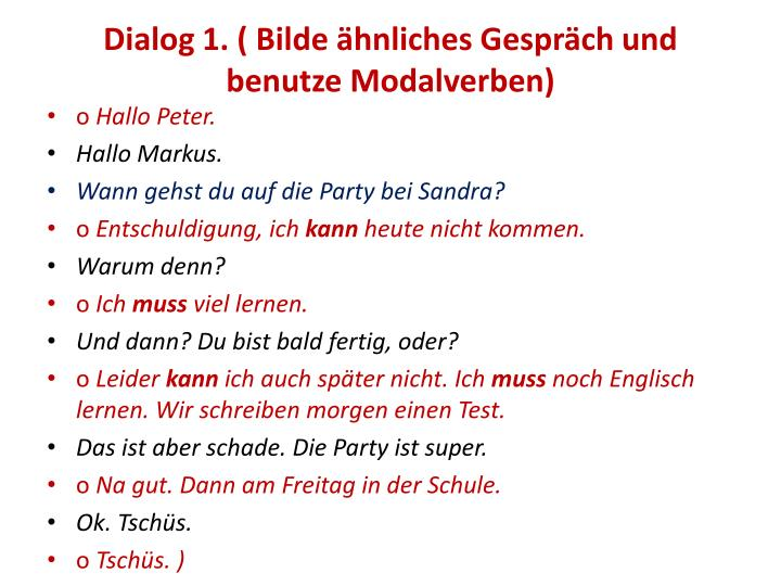 Dialog 1. (