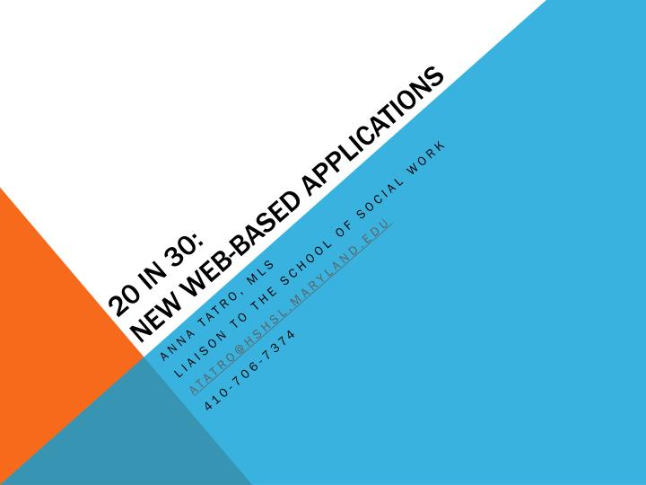 20 in 30 new web based applications