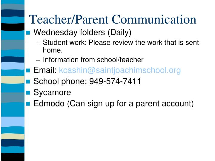 Teacher/Parent Communication