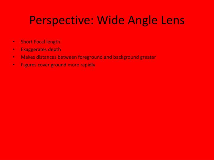 Perspective: Wide Angle Lens