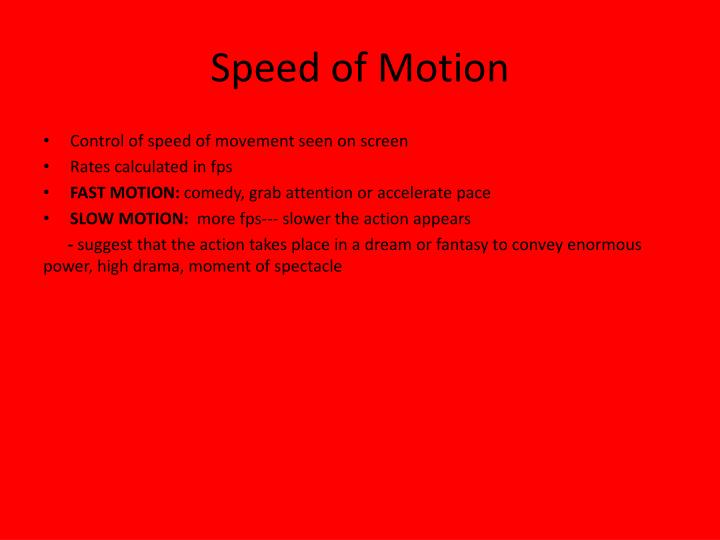 Speed of motion