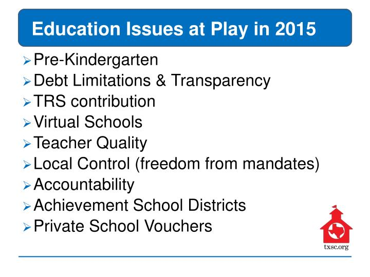 Education Issues at Play in 2015