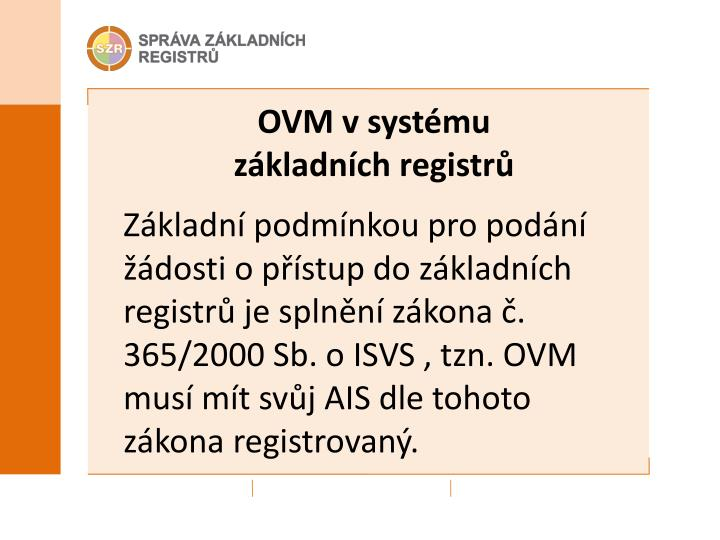 OVM v systému základních registrů