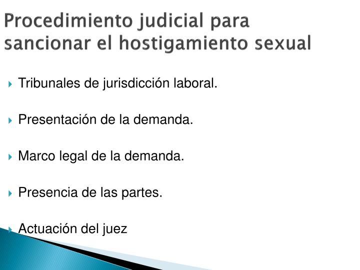 Procedimiento judicial para sancionar el hostigamiento sexual