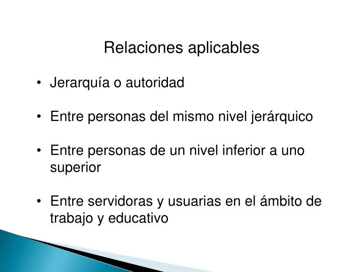 Relaciones aplicables