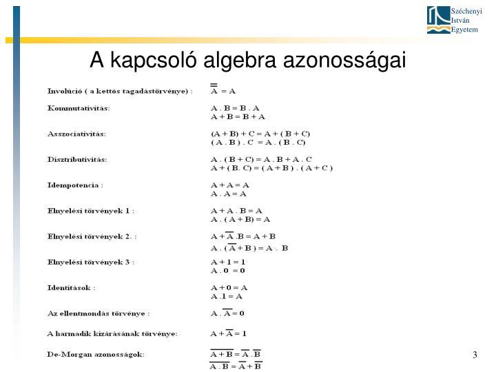A kapcsoló algebra azonosságai