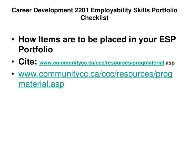 Career Development 2201 Employability Skills Portfolio Checklist