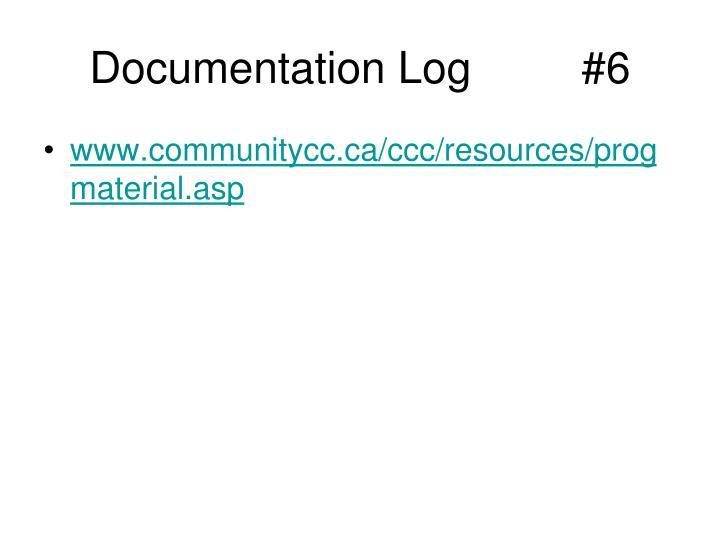 Documentation Log         #6