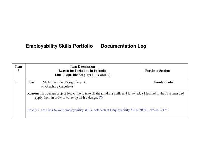 Employability Skills Portfolio      Documentation Log
