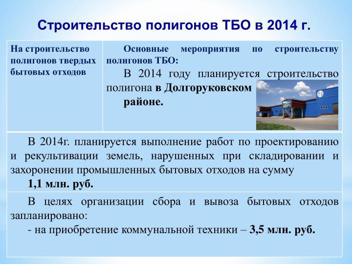 Строительство полигонов ТБО в 2014 г.