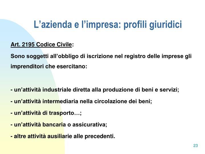 L'azienda e l'impresa: profili giuridici