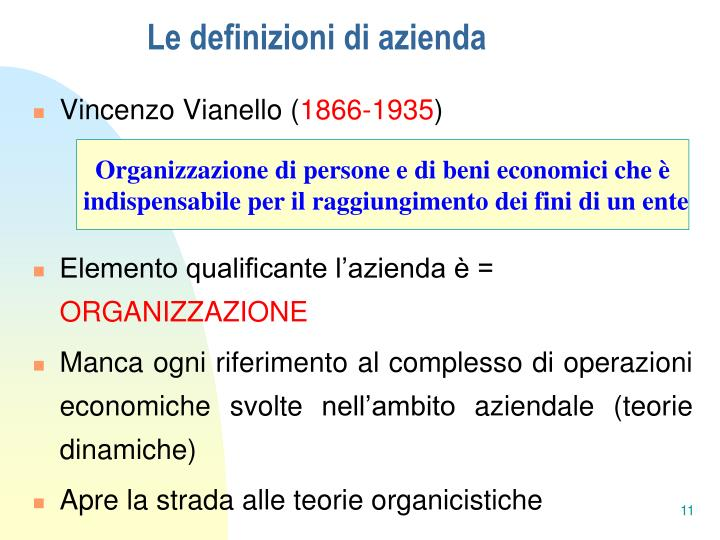 Le definizioni di azienda
