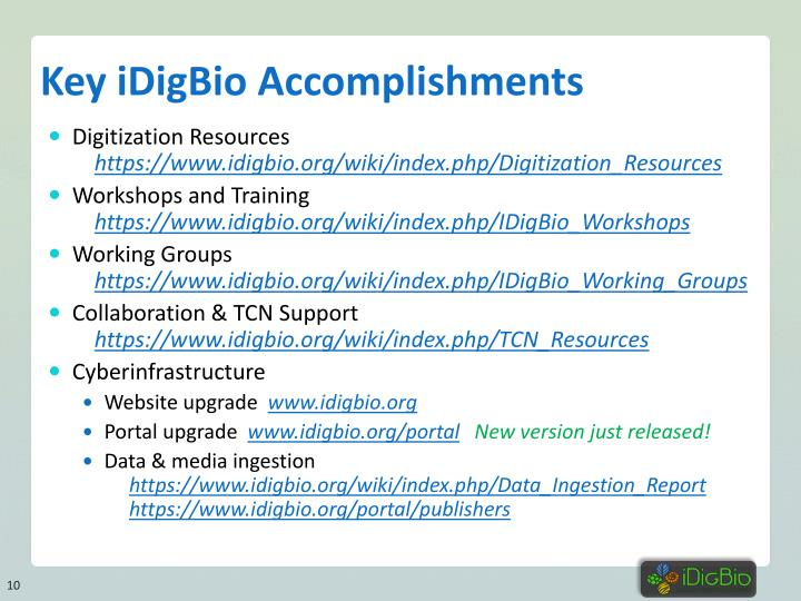 Key iDigBio Accomplishments