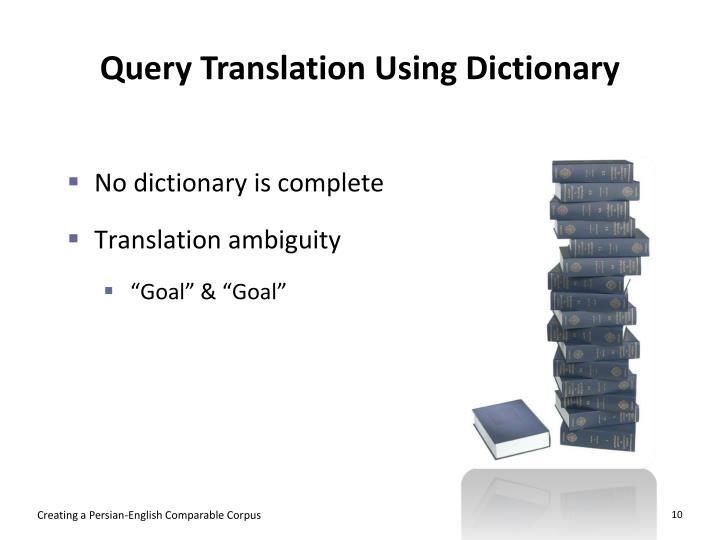 Query Translation Using Dictionary