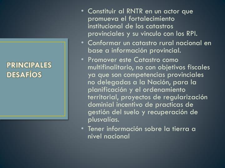 Constituir al RNTR en un actor que promueva el fortalecimiento institucional de los catastros provinciales y su vinculo con los RPI.