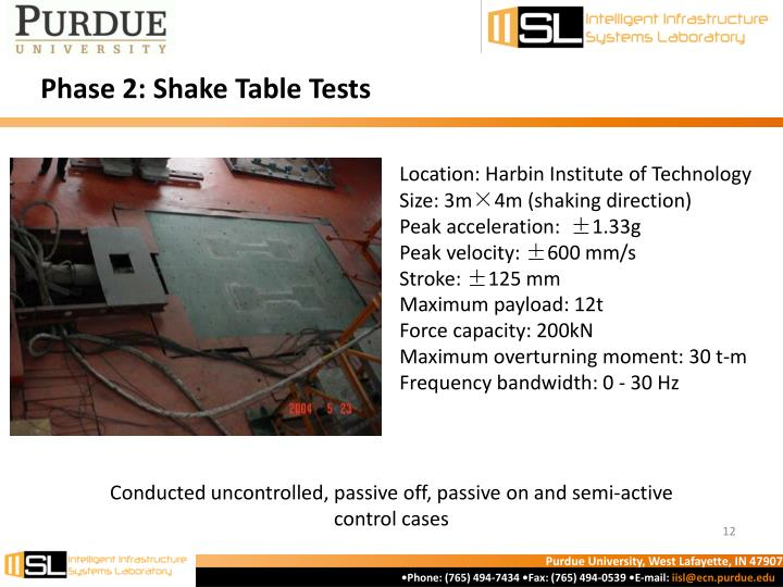 Phase 2: Shake Table Tests