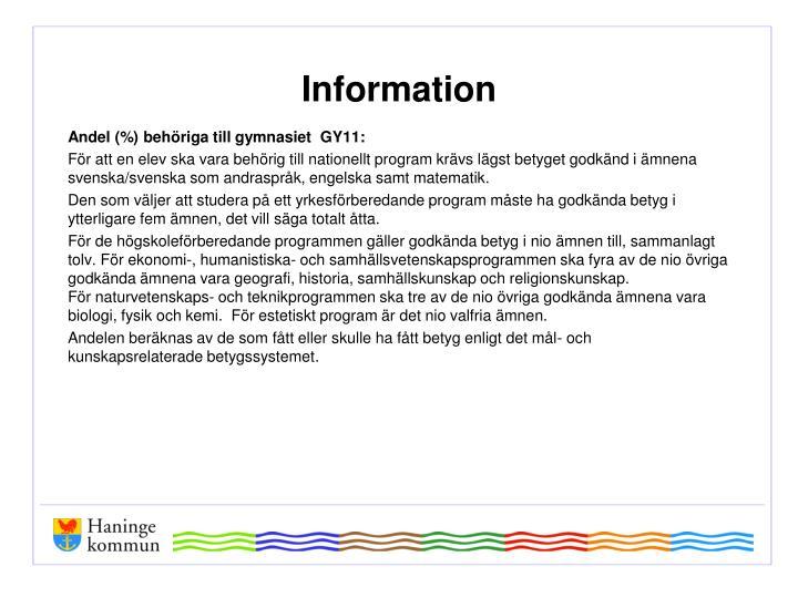 Andel (%) behöriga till gymnasiet  GY11: