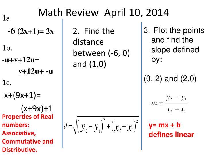 Math Review  April 10, 2014