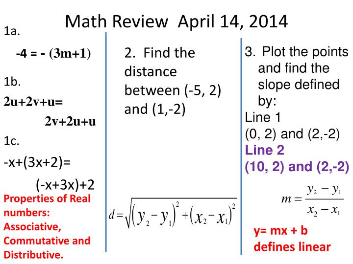 Math Review  April 14, 2014