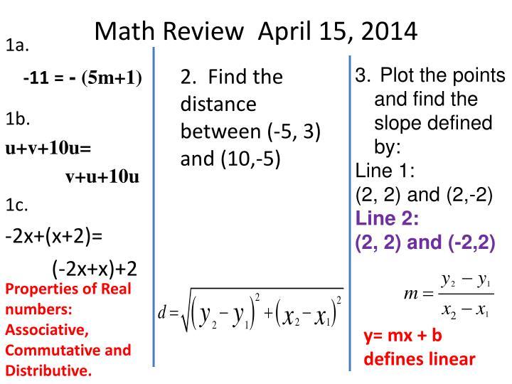 Math Review  April 15, 2014