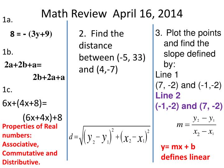 Math Review  April 16, 2014