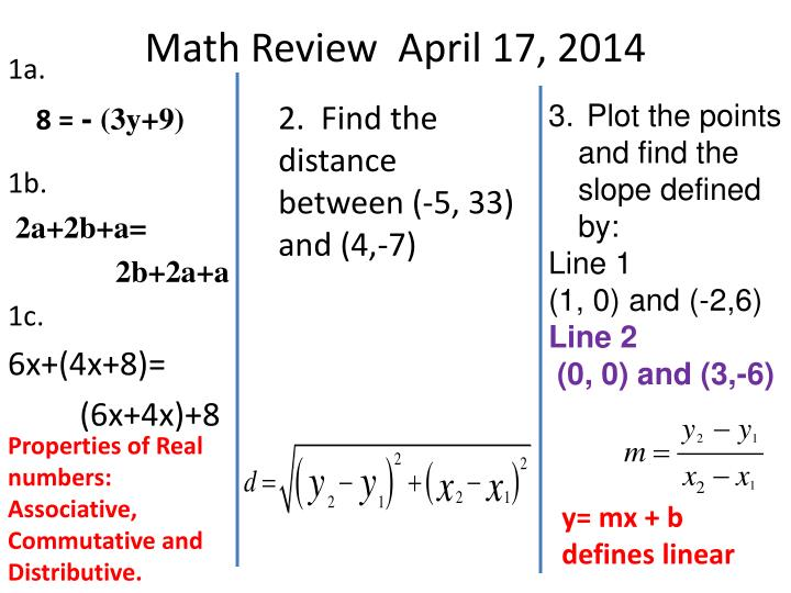 Math Review  April 17, 2014