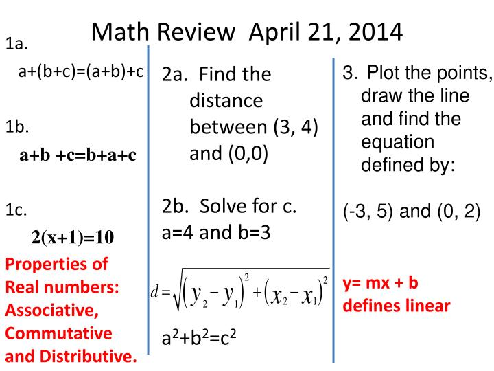 Math Review  April 21, 2014