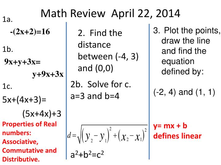 Math Review  April 22, 2014