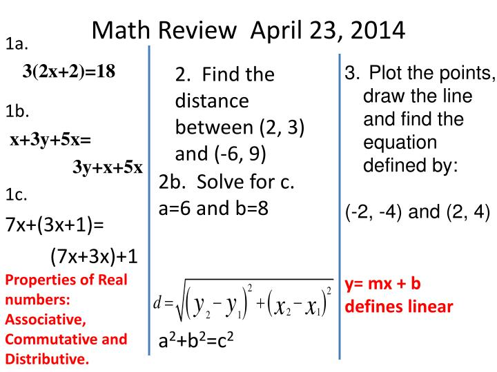 Math Review  April 23, 2014