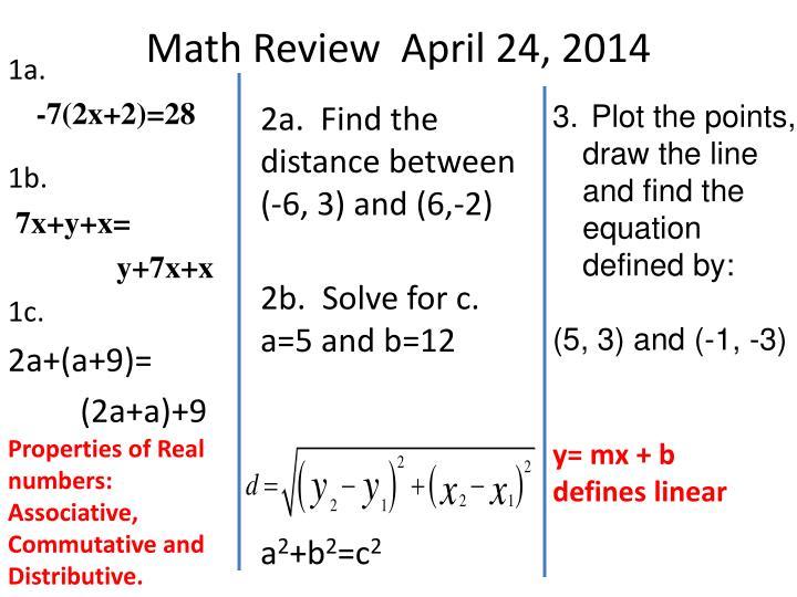 Math Review  April 24, 2014