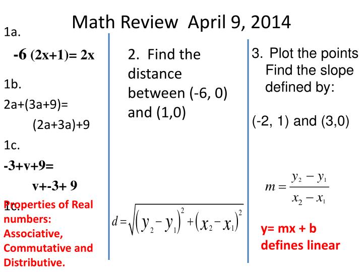 Math Review  April 9, 2014