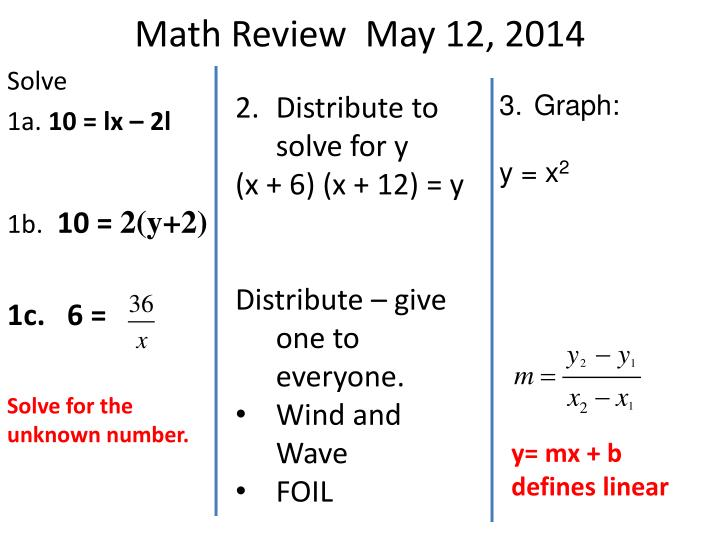 Math review may 12 2014
