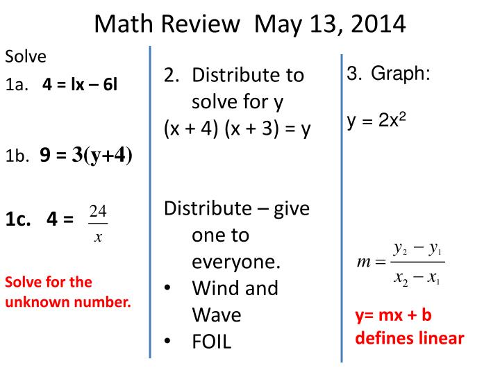 Math review may 13 2014