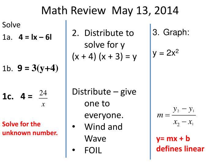 Math Review  May 13, 2014
