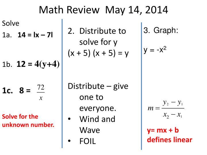 Math Review  May 14, 2014