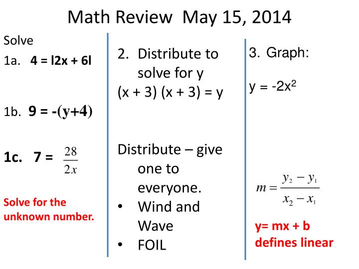 Math Review  May 15, 2014