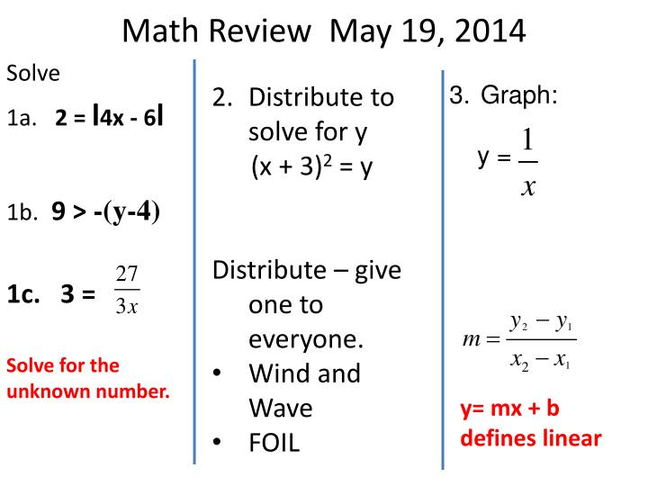Math Review  May 19, 2014